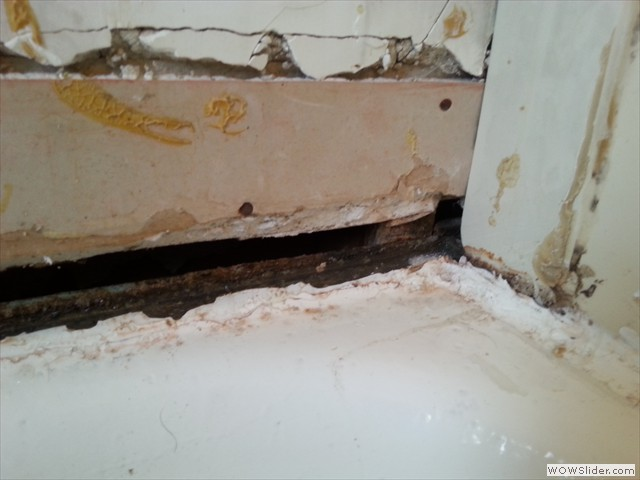 Water and mold behind old surround