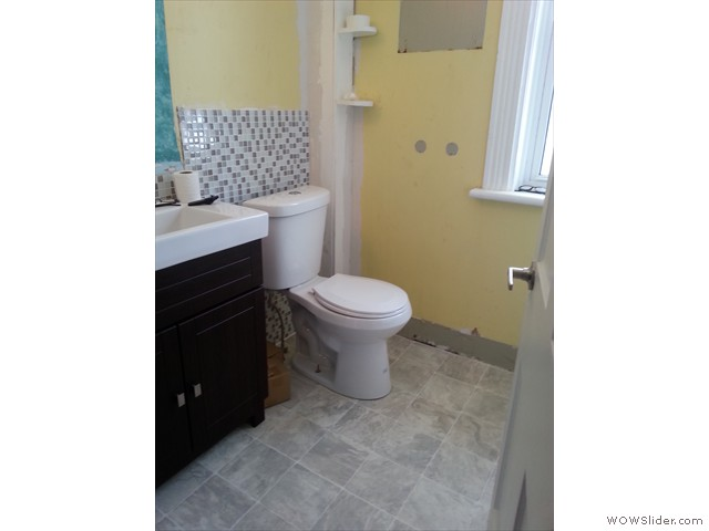 New toilet and flooring
